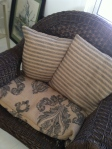 Burlap cushions for wicker chairs